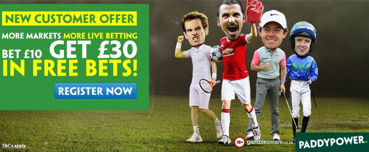 Paddy Power Bet £10 Get £30 Free New Customer Offer