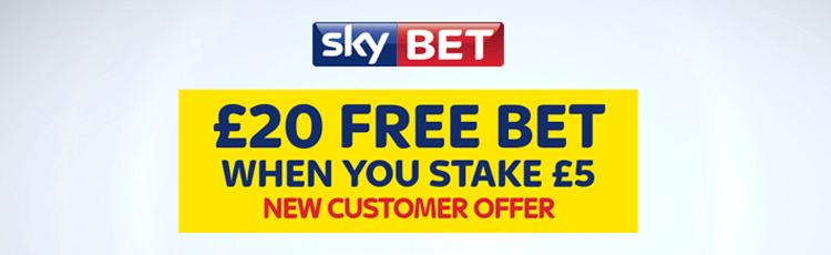 Sky Bet Bet £5 Get £20 Free Bet Sign Up Offer (September