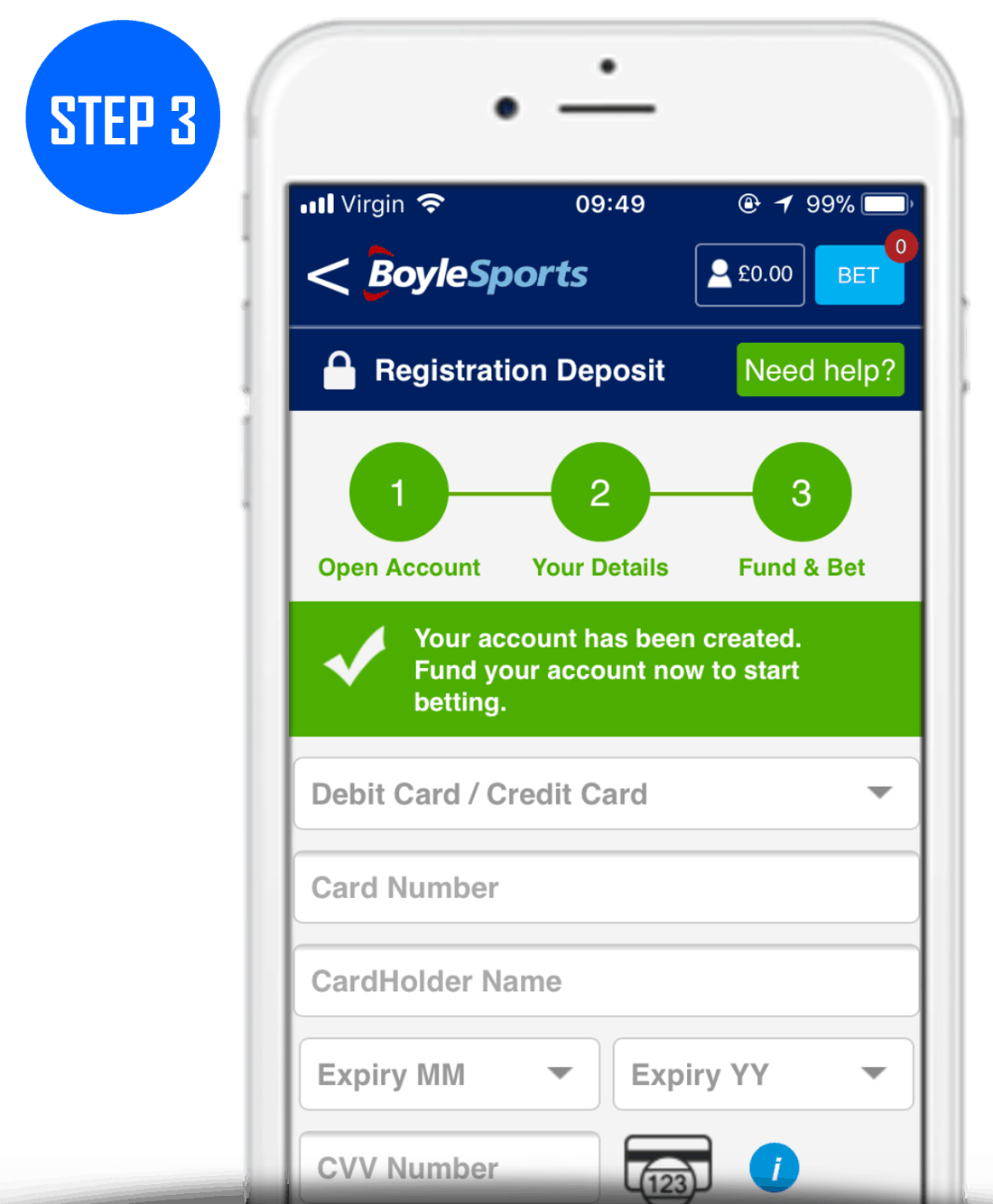BoyleSports Sign Up Process Step 3