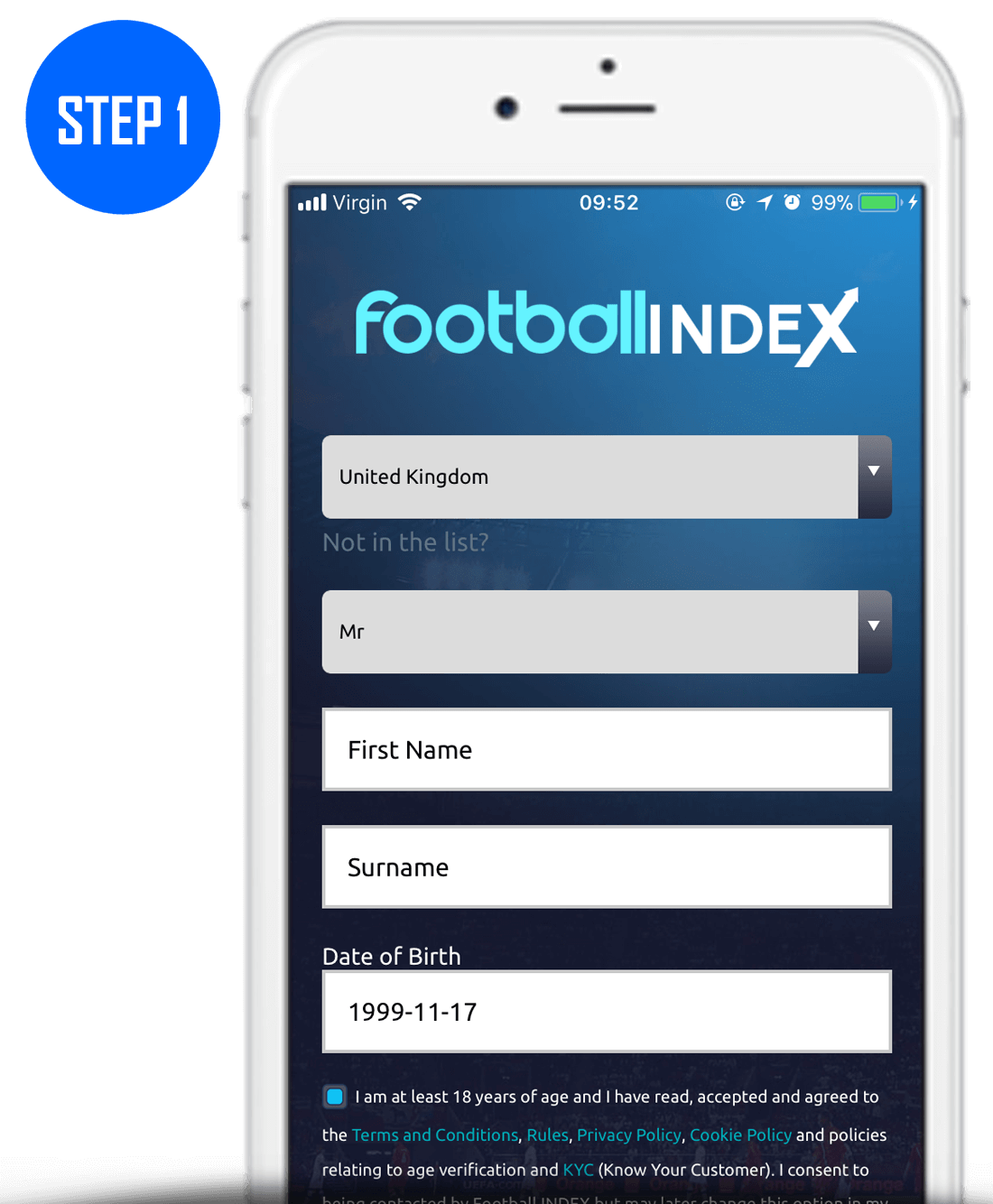 Football Index Sign Up Process Step 1