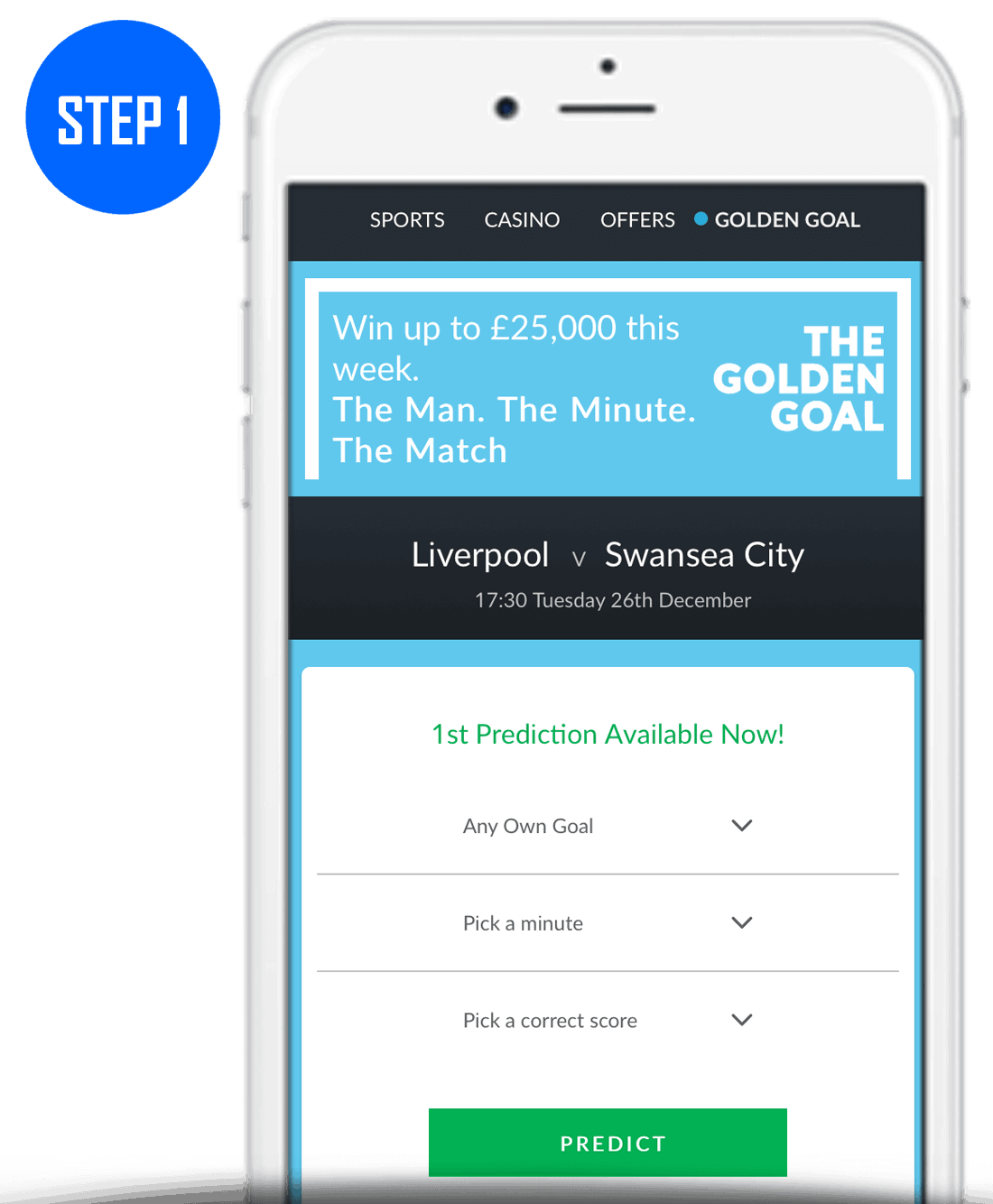 Step 1 How To Play BetVictor Golden Goal