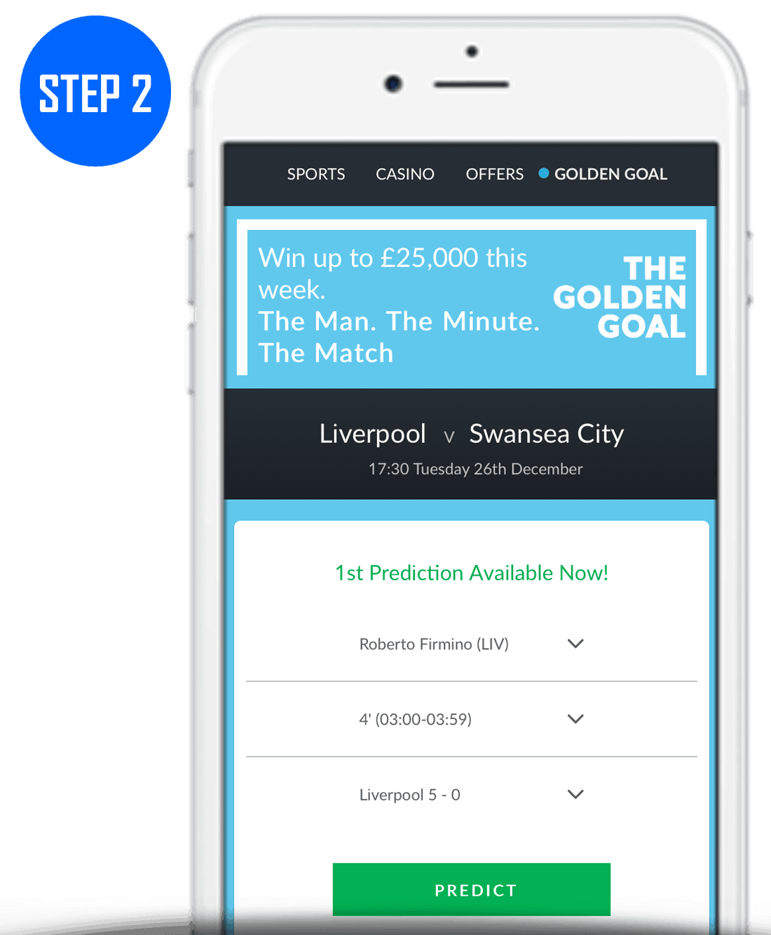 Step 2 How To Play BetVictor Golden Goal