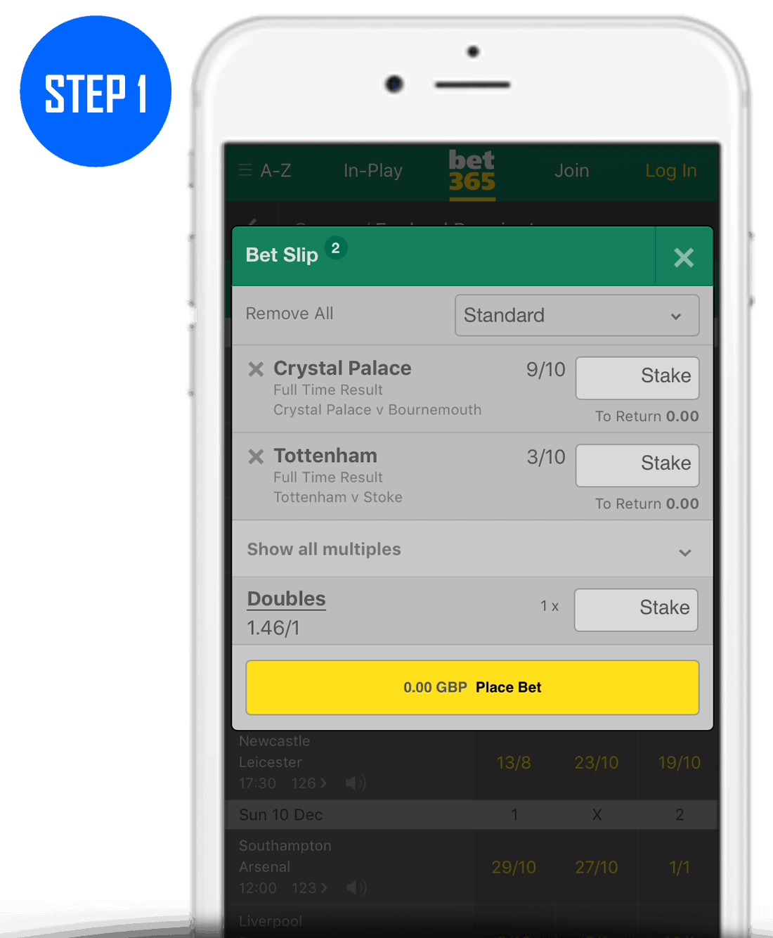 How To Place A Double Bet Step 1