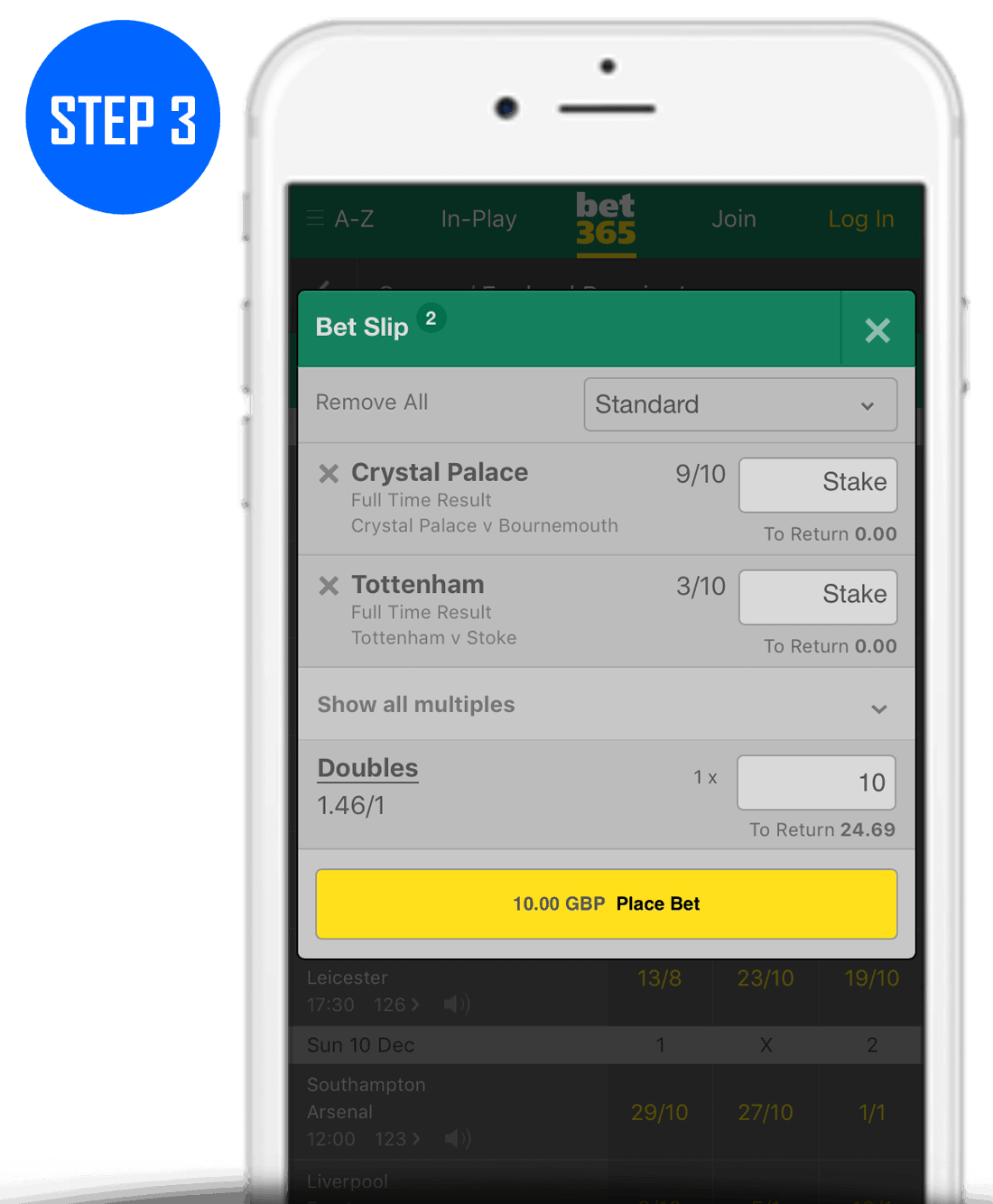 How To Place A Double Bet Step 3