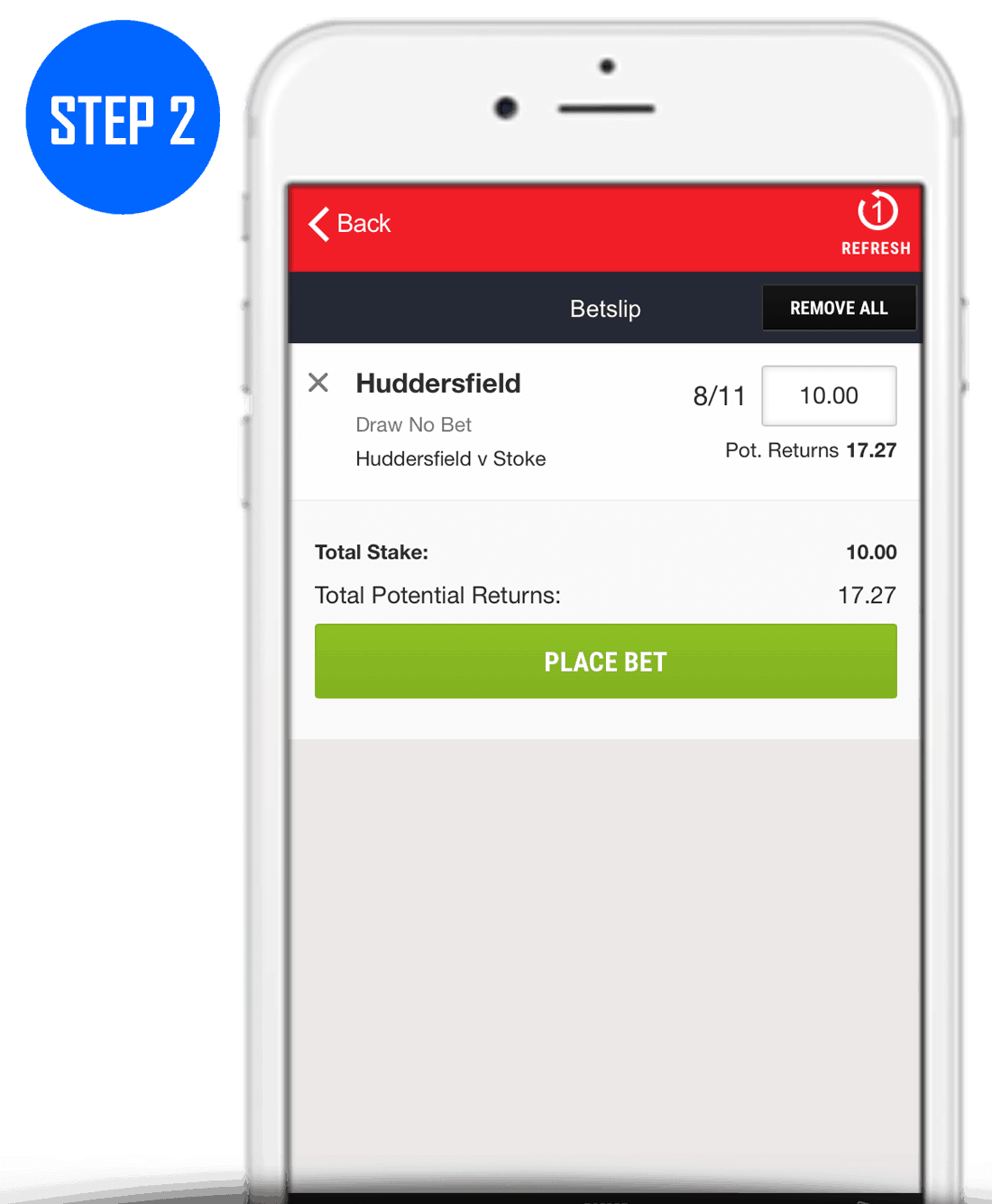 How To Place A Draw No Bet Step 2