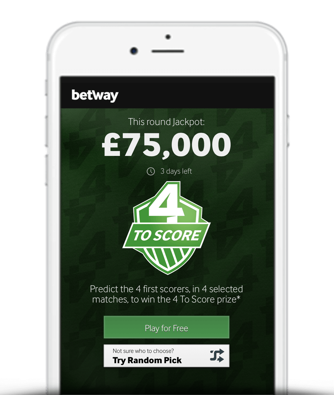 How To Play Betway 4 To Score Step 1