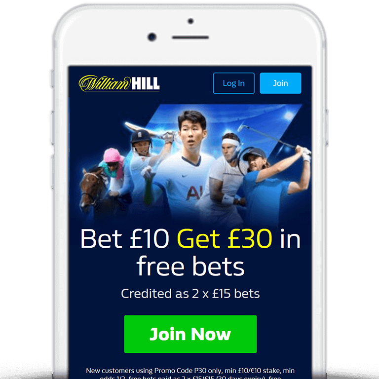 William Hill mobile banner of bet £10 get £30 offer