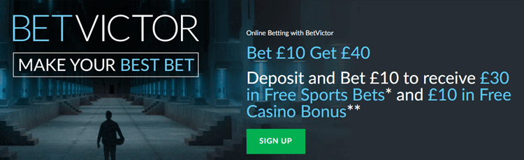 BetVictor Bet £10 Get £40 Free Bet Sign Up Offer