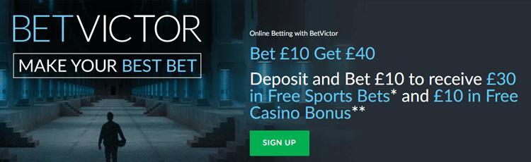 BetVictor Bet £10 Get £40 Free Bet Sign Up Offer