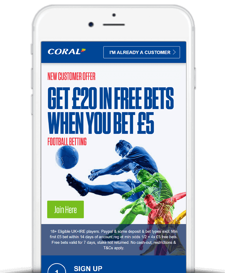 What IsThe Coral Bet £5 Get £20 Free Bet Sign Up Offer?