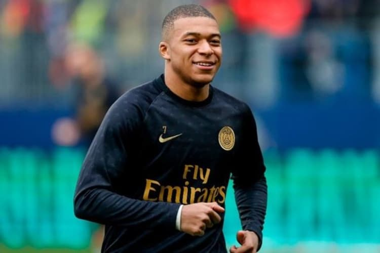 Kylian Mbappe Smiles While Training before a Match in the French Ligue 1