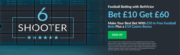 BetVictor Bet £10 Get £60 Free Bet Sign Up Offer