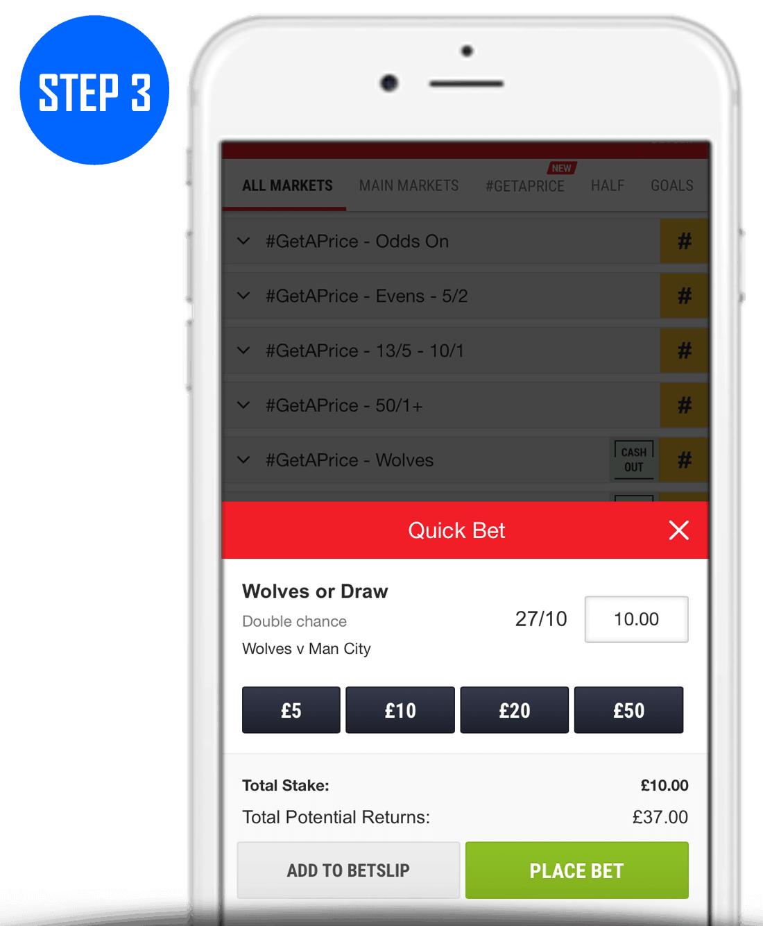 How To Place Double Chance Bet Step 3