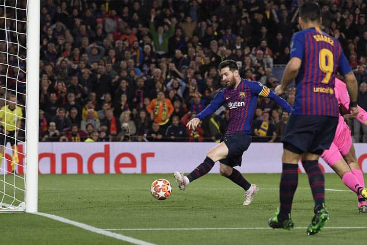 A fiery shot is unleashed by Lionel Messi past a goalkeeper into the back of the net. Both Teams To Score