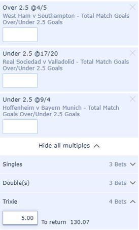 An over under 2.5 goals Trixie at William Hill