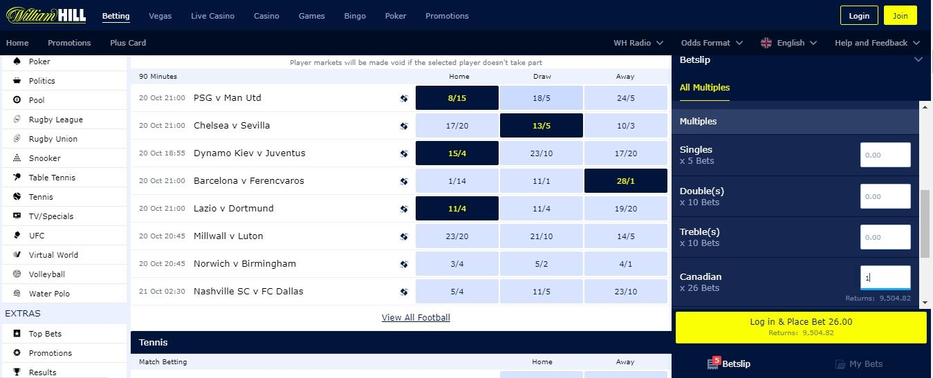 Canadian bet at William Hill