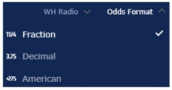 William Hill showing options for Fractional, Decimal or American Odds