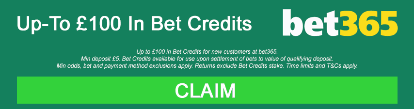 Bet365 promo banner - up to £100 in bet credits for new customers