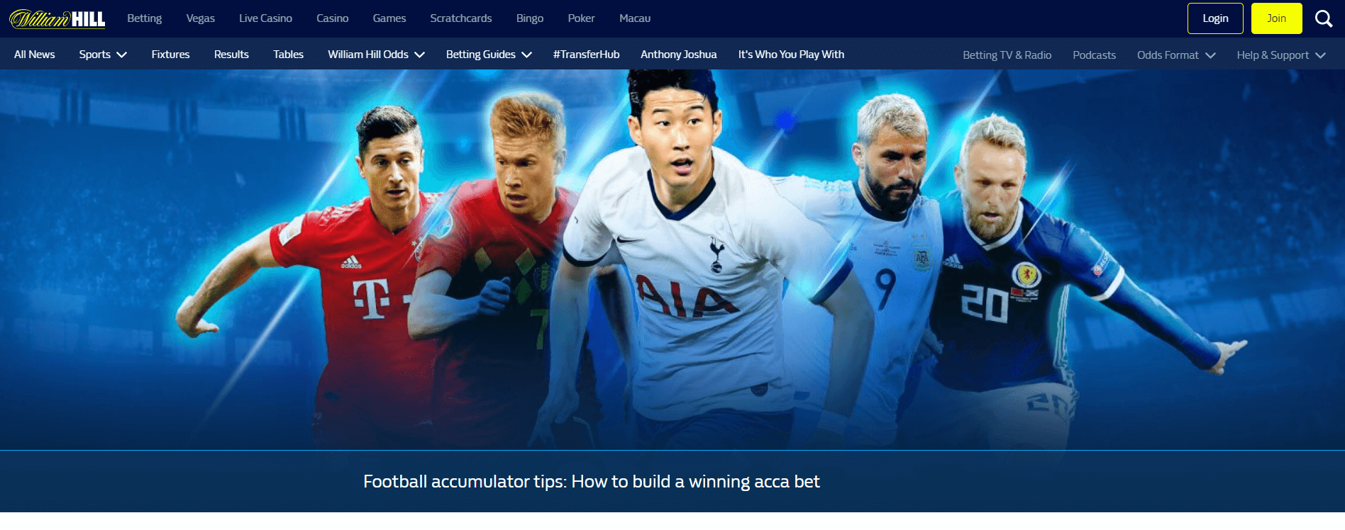 "William Hill banner titled ""How to build a winning acca bet"""