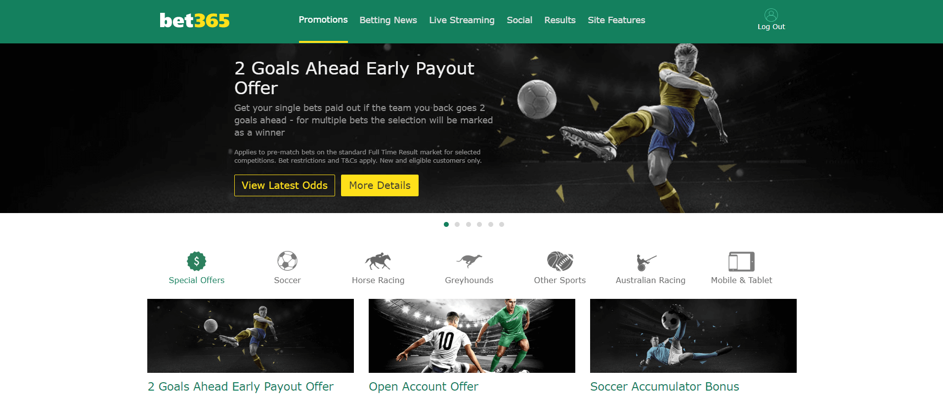 "Bet 365 banner titled ""2 Goals Ahead Early Payout Offer"""