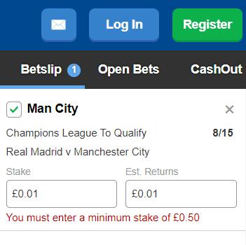 minimum bet slip