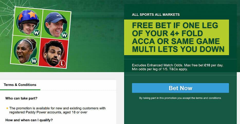 acca bonus banner on Paddy Power's website