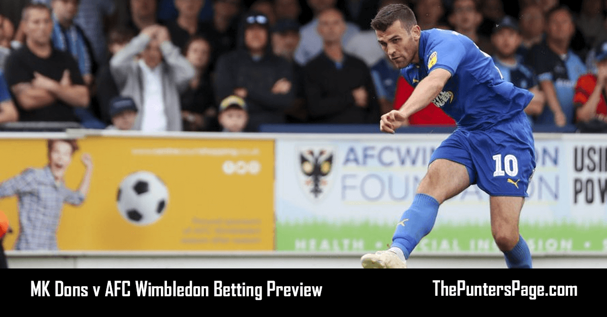 MK Dons v AFC Wimbledon Betting Preview, Odds & Tips