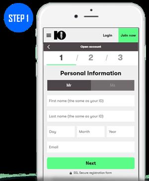 10Bet Mobile App Sign Up Step 1