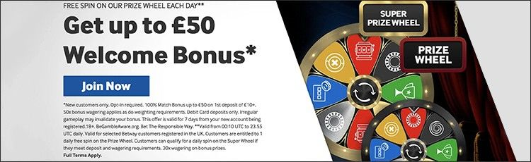Betway promo 50 pounds