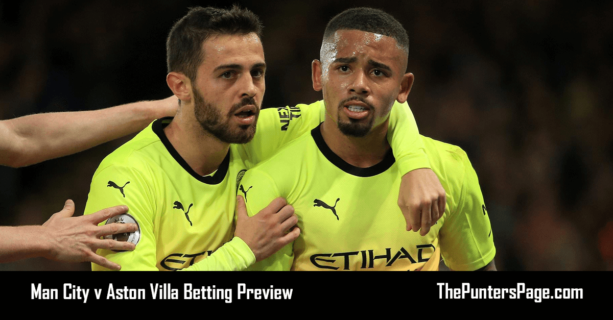 Man City v Aston Villa Betting Preview, Odds & Tips