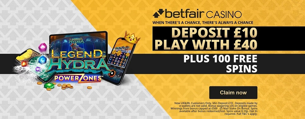 Betfair Casino New Customer Offer: Deposit 10 Play With 40 + 100 Free Spins