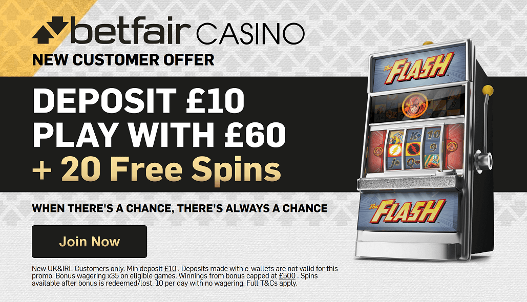 Betfair Casino New Customer Offer: Deposit 10 Play With 60 + 20 Free Spins