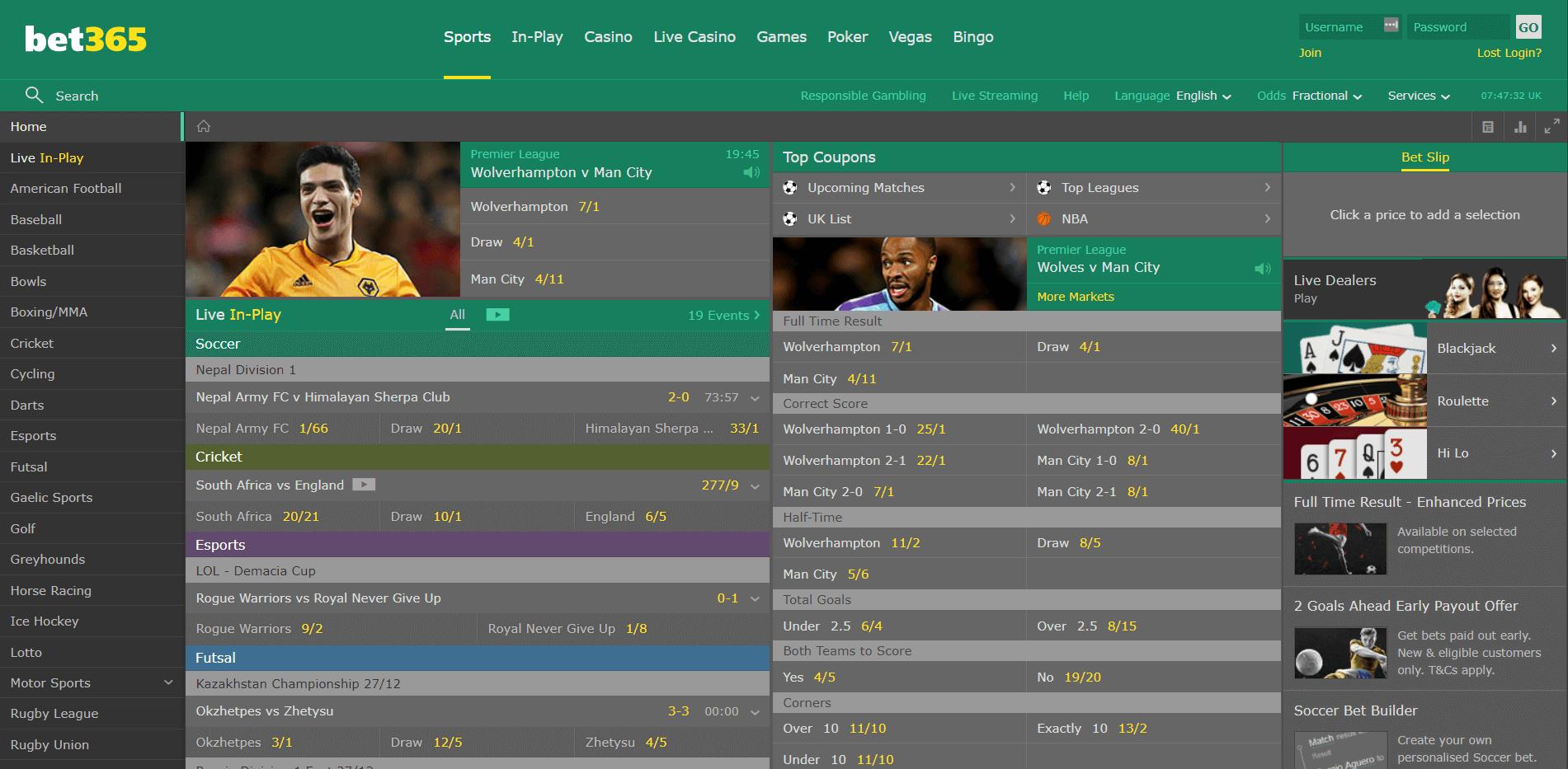 bet365 sportsbook homepage