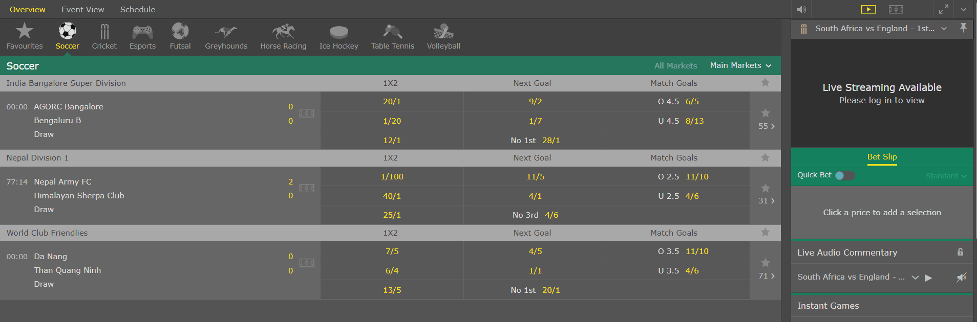 live in-play matches