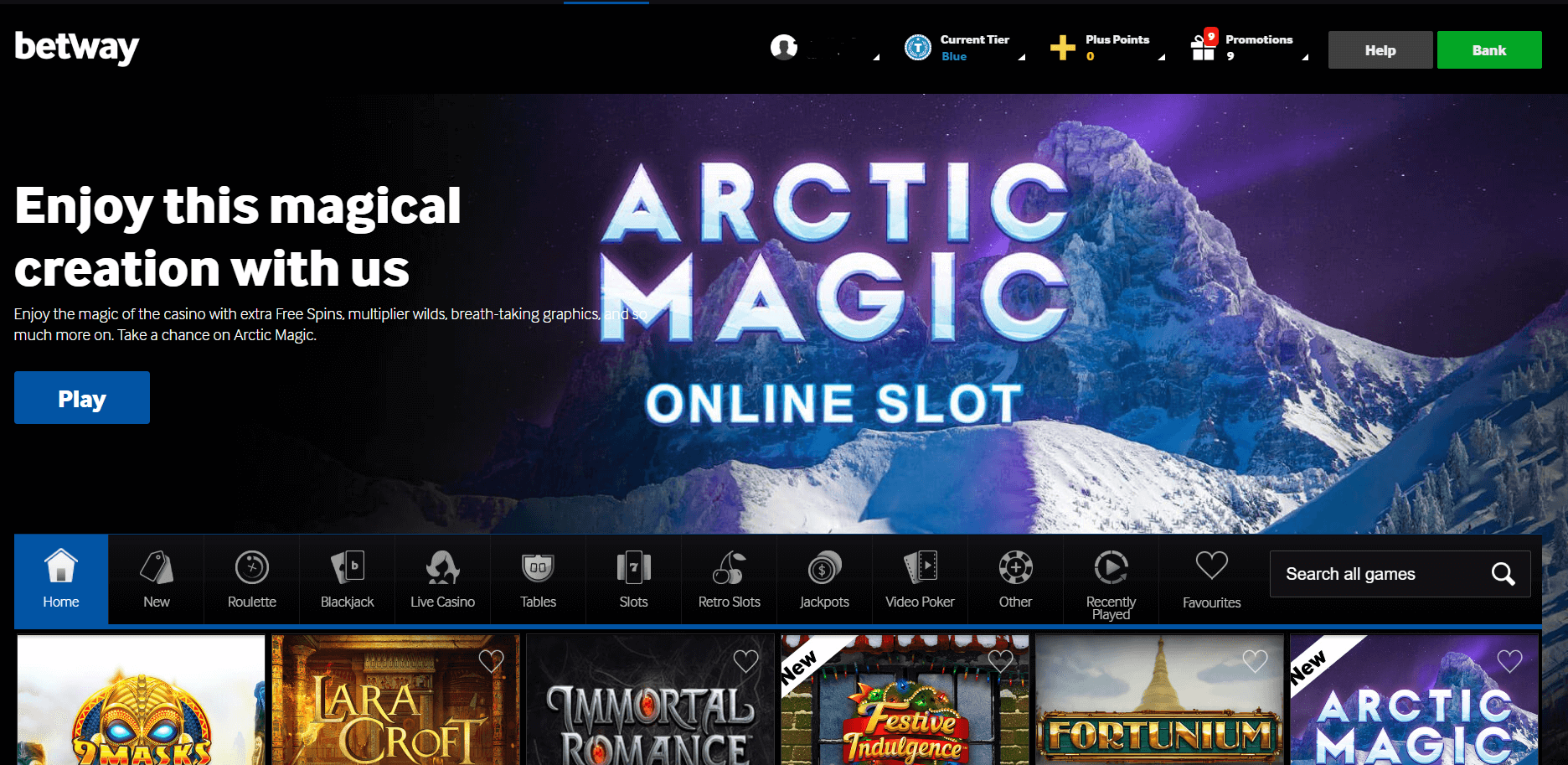 betway casino homepage