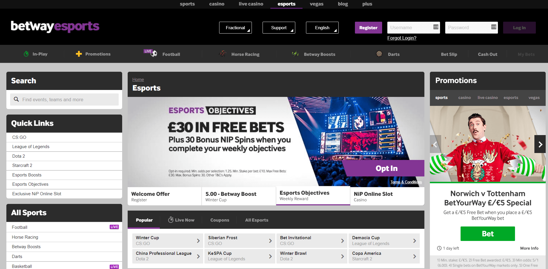 betway esports homepage