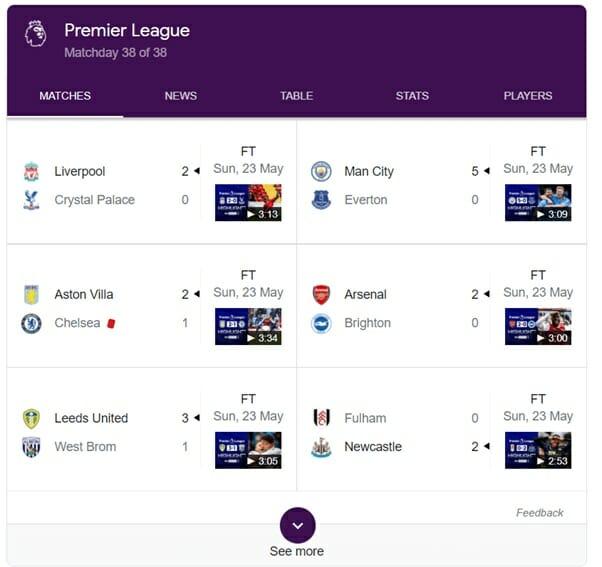 Premier League match results screenshot