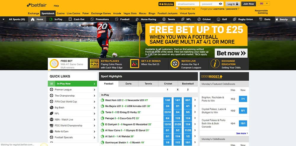 Betfair Landing Page for Sports