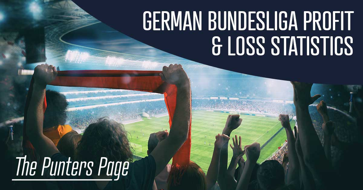 German Bundesliga Profit & Loss Statistics text with spectators in stadium as a background