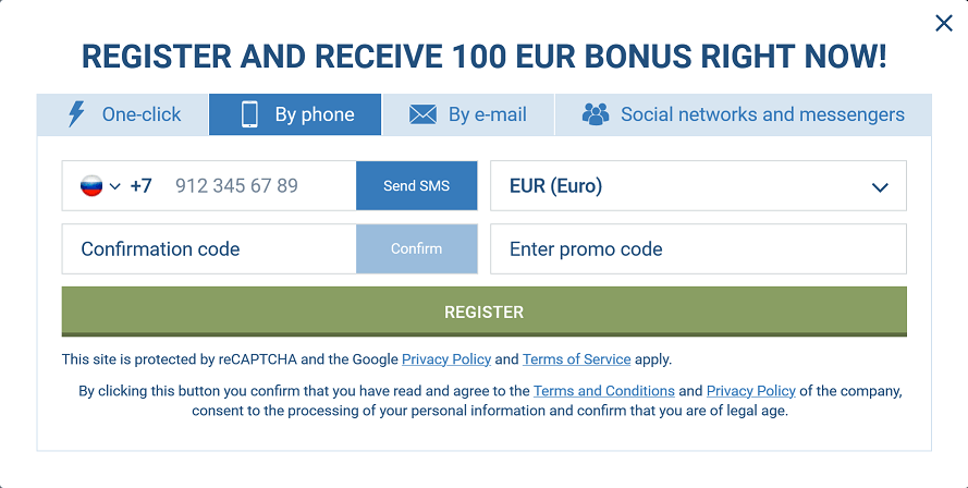Signup 1xBet