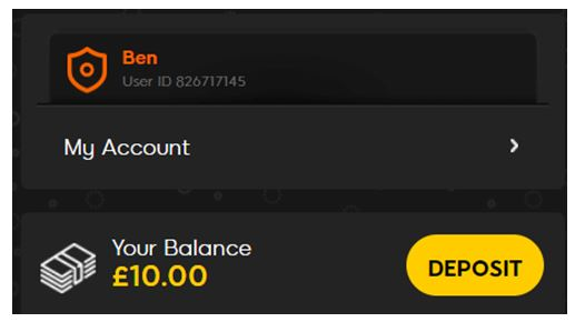 888sport account showing Deposit button and £10.00 balance