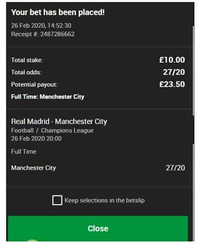 888sport bet slip showing a placed bet on Real Madrid vs Manchester City