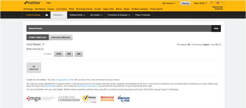 Betfair Banking Page