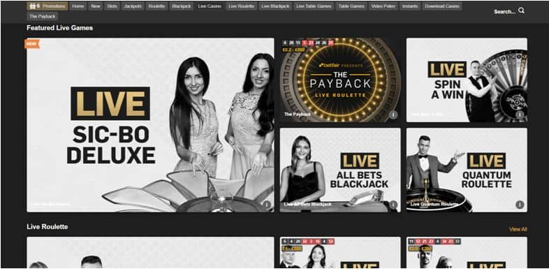 Betfair Live Casino Page