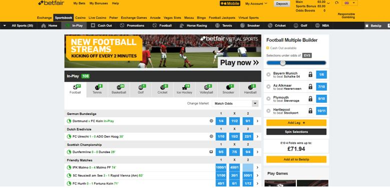 Betfair Live Sportsbook Page