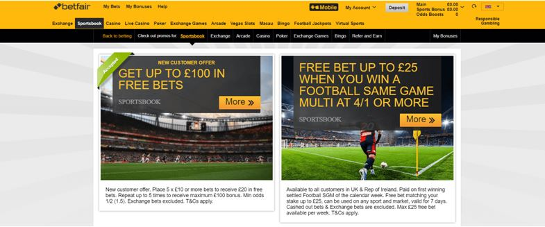 Betfair Promotions Page