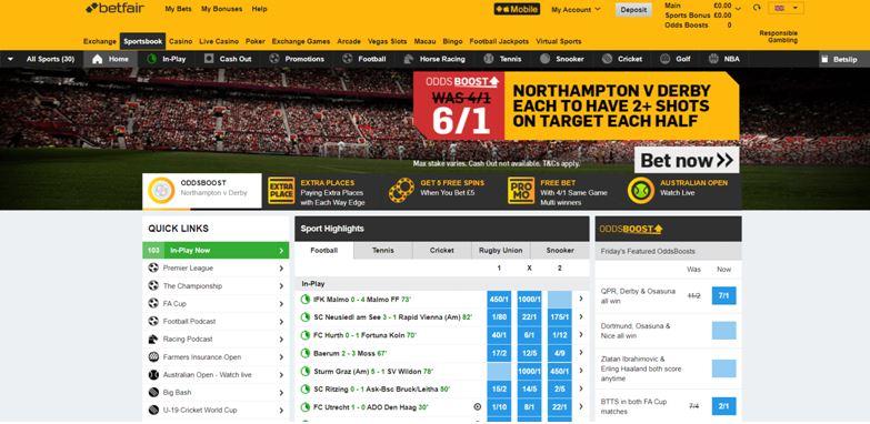 Betfair Sportsbook Page