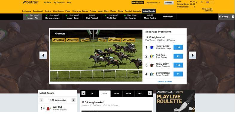 Betfair Virtual Sports Page
