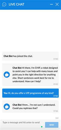 Coral live chat with bot