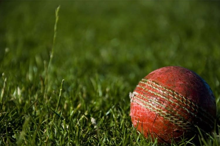 A red leather cricket ball lay on a lush green cricket field